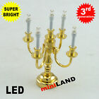 Candelabra 5 arms Bright battery operated LED light LAMP Dollhouse miniature bra