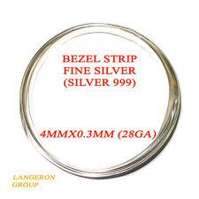 """999 fine silver bezel strip wire 4 mm x 28 Gauge - 4"""" long (10cm)"""