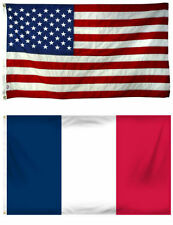 2x3 2'x3' Wholesale Combo USA American & France French Flag Banner Grommets