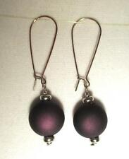 "2 1/2 ""  Drop Dangle Earrings Dark Purple Acrylic  Pierced Silver Tone Hooks"