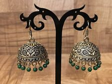New Indian Pakistani Ethnic Bollywood Green Oxidise Golden Jhumki Earring Bali