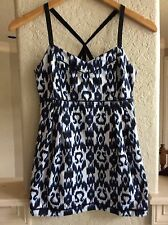 Lululemon Ikat Tank Top Black White Blue Print Size 6