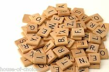 200 WOODEN SCRABBLE TILES BLACK LETTERS & NUMBERS FOR CRAFTS WOOD UK SELL