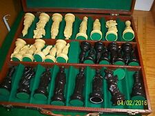 Vintage Lowes Chessmen Set in Pleather Case