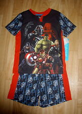 BOYS DISNEY STORE MARVEL HEROES AVENGERS SUMMER SHORT PAJAMAS SIZE 5-6 NEW TAGS