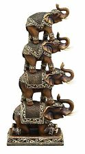 Tower of Pachyderms Stacked Elephants Trunk Up Good Luck Statue