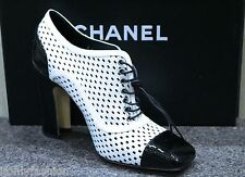 NIB CHANEL BLK/WHT LEATHER CAP TOE OXFORD LACE UP ANKLE SHORT BOOTIES Shoes 38.5