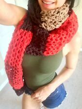 Winter Scarf Long Knitted Wrap THICK LARGE Handmade Crochet Red Brown Shawl Big