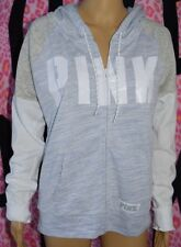 Victoria's Secret PINK Perfect Full Zip Hoodie Marled Blue Colorblock White L