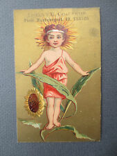 Antique Trade Card French CHROMO Litho Child Sunflower Victorian L Gaye Tarbes