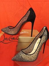 NIB LOUBOUTIN  FOLLIES LACE 100  BLACK CHIFFON JEWELED SUEDE PUMPS 39.5 $795