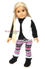 "WINTER VEST + LEGGINGS + TOP + BOOTS Outfit for 18"" American Girl Doll Clothes"