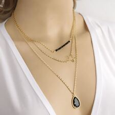 Celebrity  Layers Hollow Lucky Star TearDrop Bead Pendant Minimalist Necklace