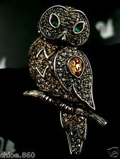 SIGNED PAVE' PAVE' CRYSTAL SWAROVSKI WOOD OWL  PIN ~ BROOCH RETIRED NEW