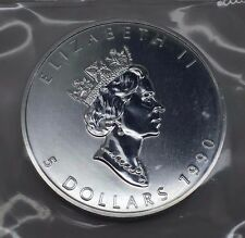 1990 CANADA 1 OZ SILVER MAPLE LEAF $5 COIN FREE SHIPPING