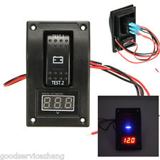 12V Car SUV Truck Marine Dual LED Battery Test Switch Panel with Voltage Meter