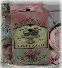 """THE WORLD'S BEST CUPCAKES""~Shabby Chic~Country Cottage style~Wall Decor Sign"