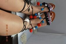 Ladies Pom Pom Greek lace up Sandals Gladiator Tie Up Tribal Boho Ankle Straps