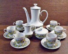 17 pc Winterling Bavaria Pattern WIG581 Yellow Roses COFFEE TEA DEMITASSE SET