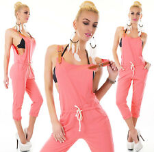 Latzhose-Capri-Sweat-Jogging-Style Jumpsuit Koralle One Size (34+36+38)