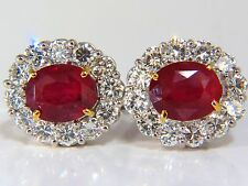 █$52000 12.12ct GRS NO HEAT OVAL VIVID RED RUBY DIAMOND CLUSTER EARRINGS WINZA