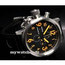 50mm Parnis orange mark Big Face date full Chronograph Lefty Crown mens Watch 36