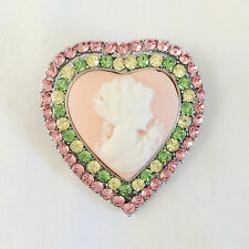 New Victoria Concept Pink Heart Crystal Cameo Love Brooch Pin Pendant BR1363
