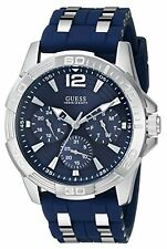 GUESS U0366G2 Iconic Multi-Function Silver-Tone Men's Watch/Blue Silicone Strap