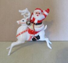 "VINTAGE SANTA CLAUS on REINDEER HARD PLASTIC FIGURE 6"" tall"