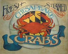 Chesapeake Bay Crab  Print art decor Maryland  vintage style  chesapeake bay