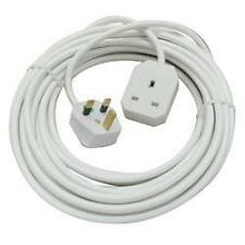 Omega 21302 Single Gang 1 Way 2m Mains Extension Lead UK Plug 13A Fused - White