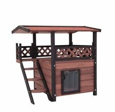 GATTO in legno da esterni giardino casa Play Letto TETTO IMPERMEABILE & Porta Flap di sicurezza NUOVO