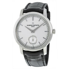 Vacheron Constantin Traditionnelle Silver Dial Black Leather Mens Watch