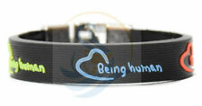 Being Human Multi Color 24 mm DEBOSSED SILICONE WRISTBAND BRACELET CHROME LOCK