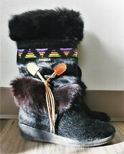 TECNICA GOAT HAIR FUR BOOTS SKANDIA NAVAJO BLACK RAINBOW SHOES WINTER MUKLUK 6