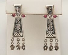 "Artisan Syled 1 3/4"" Sterling Silver Hinged Etched Beaded Drop Earrings"
