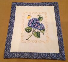Vintage Quilt Wall Hanging, Flower And Leaf Embroidery, Hand Made, Blue, White