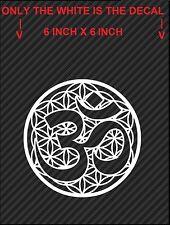 """2 White 'Flower of Om' Die-Cut Stickers, Vinyl Decals, Sacred Geometry (6"""" x 6"""")"""