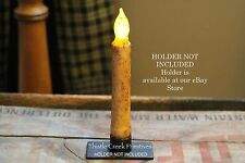 """Primitive Country Burnt Ivory 6.5"""" TIMER Battery Operated LED Taper Candle"""