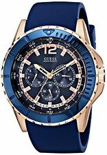 Guess U0485G1 Mens Rose Gold Tone Blue Silicone Band Multifunction Watch