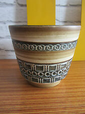 Mid century West German pottery planter neutrals with blue streak impressed patt
