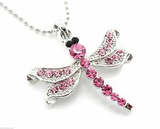 Dragonfly Pink Crystal Women's Pendant Necklace