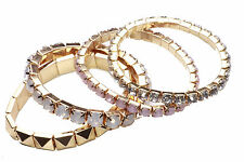 GLAM SET OF 4 STRETCHY GOLD SPARKLY BRACELETS PINK/WHITE RHINESTONES (NS31)