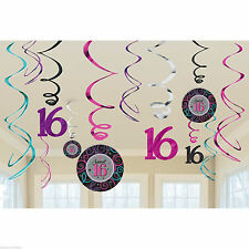 12 Classic Sweet 16th Sixteen Birthday Party Hanging Cutout Swirls Decorations