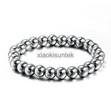 Fashion 8mm Round Ball Beads Chain Stainless Steel Mens Bangle Bracelet