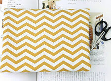 Yellow zigzag 100% Cotton Remnant  fabric 110cm x 22.5 cm fabric off cut zg*
