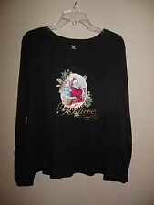 Womens Black Long Sleeve Holiday/Christmas Blouse Size XXL