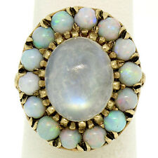 Vintage 10K Yellow Gold Cabochon Rainbow Moonstone Cocktail Ring w/ Opal Halo