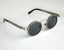 round silver metal sunglasses retro Steampunk rock spring on temples polarized