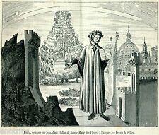 Firenze: Quadro di Dante con la Divina Commedia nel Duomo. Stampa Antica. 1881